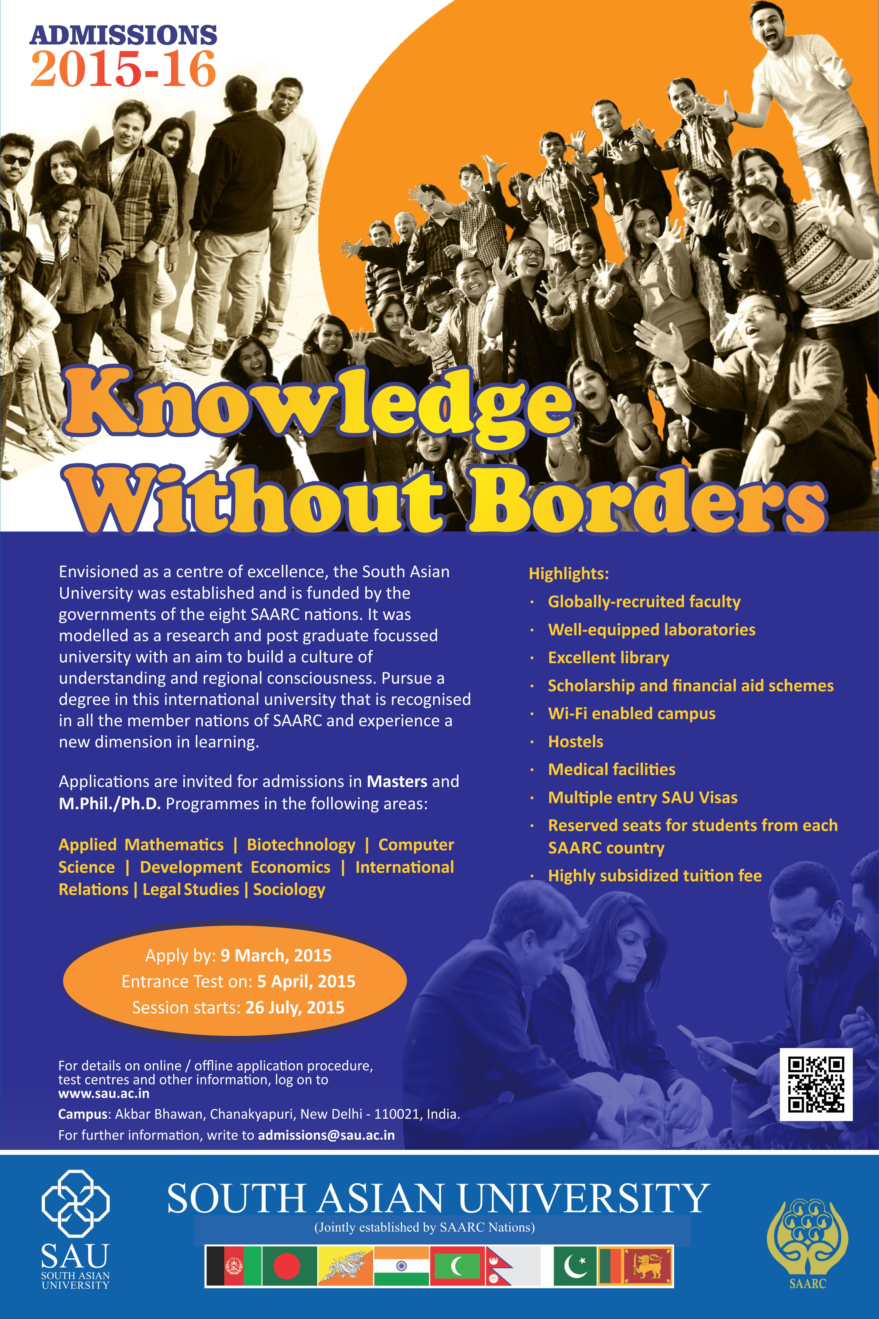 SAU Admission Poster 2015-16